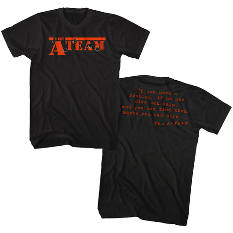 A Team - Ateam Black Adult S/S Front-Back Print T-Shirt