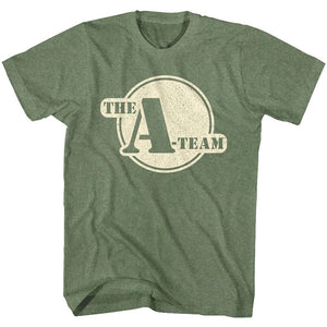A Team - Round Logo | Military Green Heather Adult S/S T-Shirt
