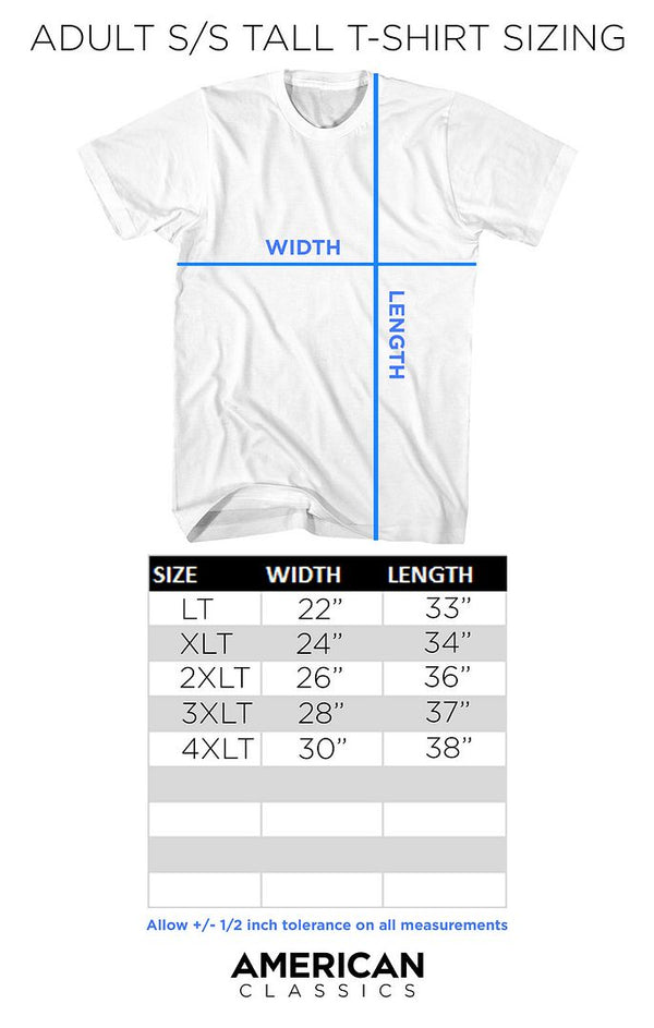 Adult Short Sleeve T-Shirt Plus Size Chart - Coastline Mall