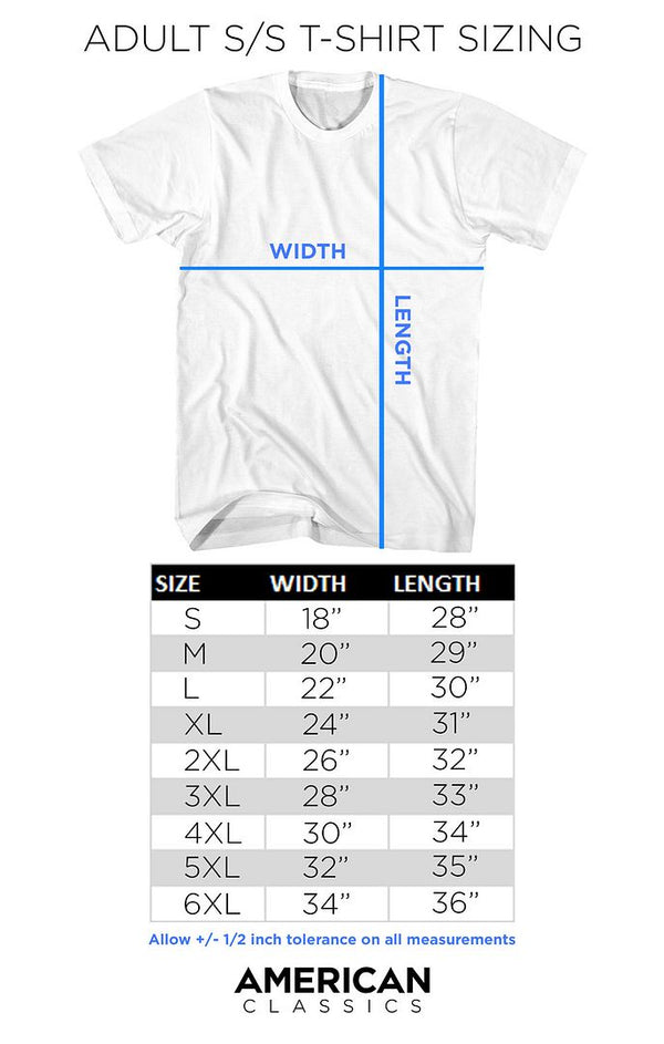 Adult Short Sleeve T-Shirt Size Chart - Coastline Mall