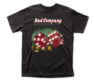 Bad Company Straight Shooter Logo Black Short Sleeve Classic Fit Heavy Weight Adult T-Shirt tee - Coastline Mall