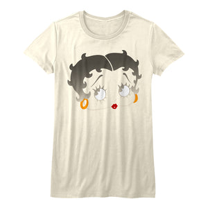 Betty Boop-Boopface-Vintage White Ladies S/S Tshirt