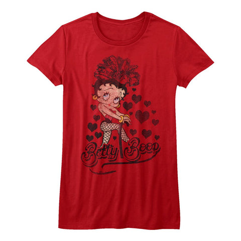 Betty Boop-Chillin'-Red Ladies S/S Tshirt