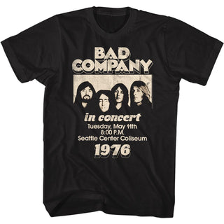 Bad Company-In Concert 76-Black Adult S/S Tshirt - Coastline Mall