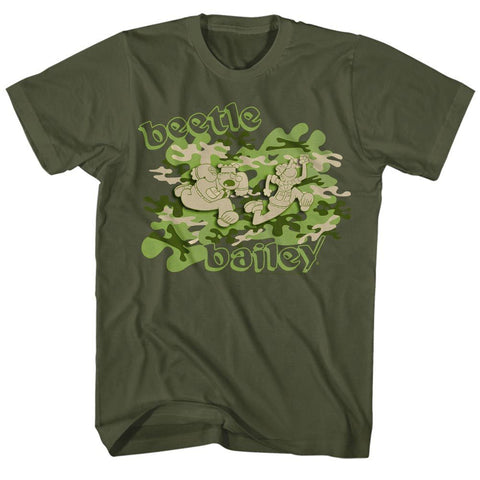 Beetle Bailey-Camo Case-Military Green Adult S/S Tshirt