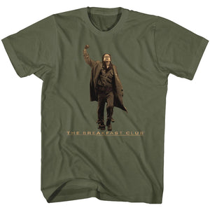 Breakfast Club-Vintage Guy-Military Green Adult S/S Tshirt