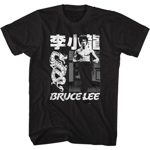 Bruce Lee-Chinese Name-Black Adult S/S Tshirt