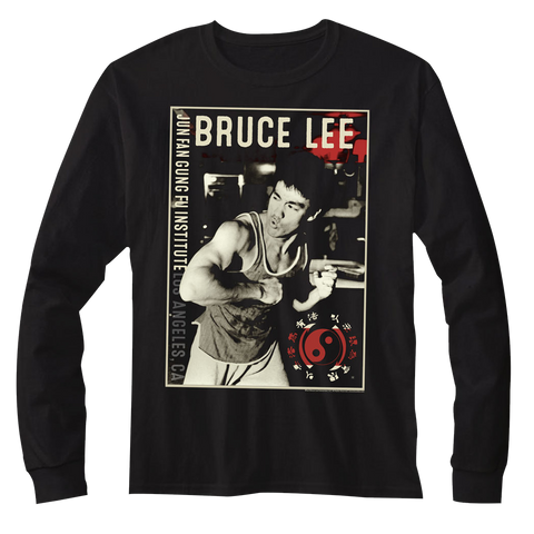 Bruce Lee-Bruce-Black Adult L/S Tshirt