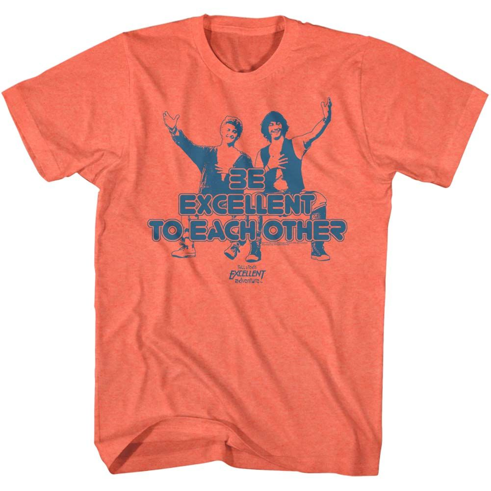 Bill And Ted-Excellent-Bright Orange Heather Adult S/S Tshirt
