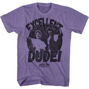 Bill And Ted-Excellent Dude-Retro Purple Heather Adult S/S Tshirt