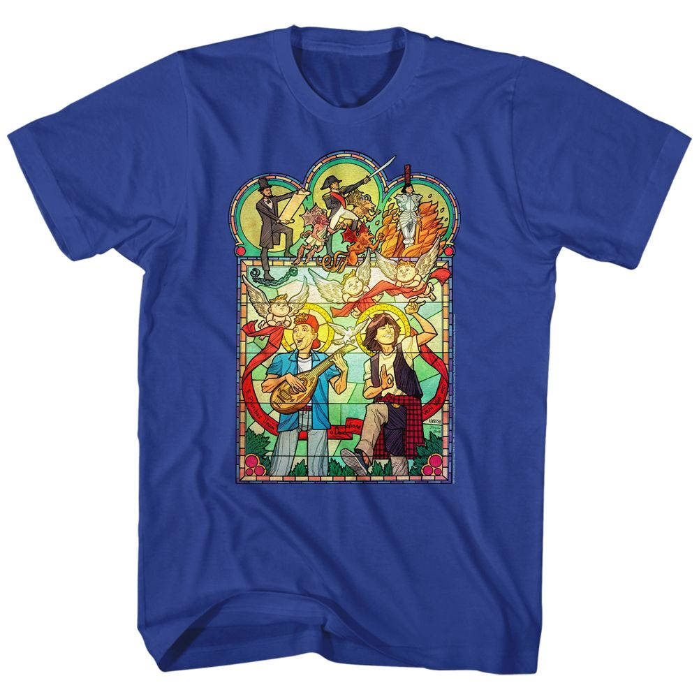 Bill And Ted-Stained Glass-Royal Adult S/S Tshirt