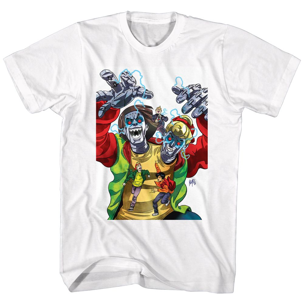 Bill And Ted-Robot Dudes-White Adult S/S Tshirt
