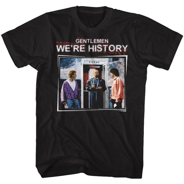 Bill And Ted-We're History Color-Black Adult S/S Tshirt