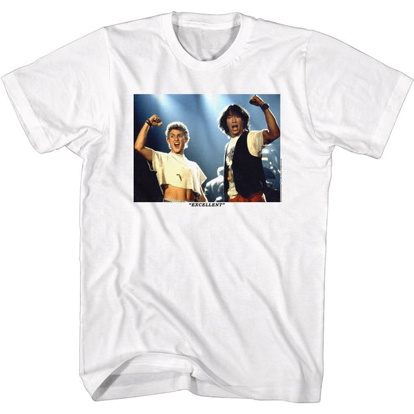 Bill And Ted-Excellent Fists Up-White Adult S/S Tshirt - Coastline Mall