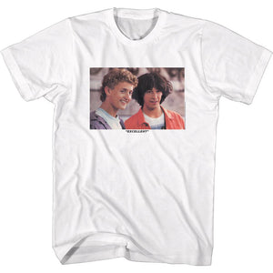 Bill And Ted-Excellent Heads-White Adult S/S Tshirt