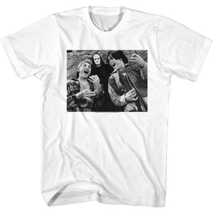 Bill And Ted-Bill & Ted & Death-White Adult S/S Tshirt