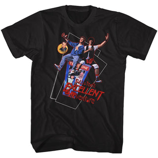 Bill And Ted-Flying-Black Adult S/S Tshirt - Coastline Mall