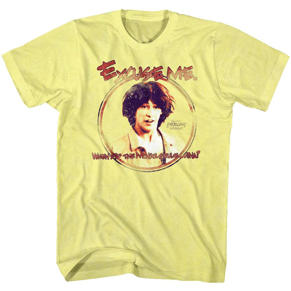 Bill And Ted-Excuse Me-Yellow Heather Adult S/S Tshirt