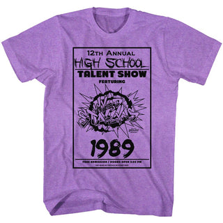 Bill And Ted-The Talent Show-Neon Purple Heather Adult S/S Tshirt - Coastline Mall