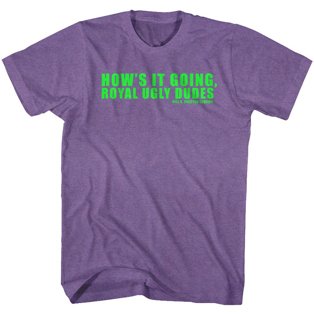 Bill And Ted-Ugly-Retro Purple Heather Adult S/S Tshirt