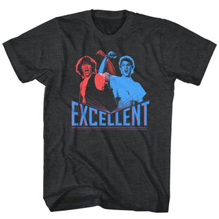Bill And Ted - 3D Excellent | Black Heather S/S Adult T-Shirt - Coastline Mall