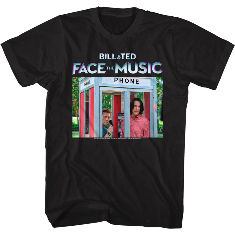 Bill And Ted-Face the Music-Phone Booth Color-Black Adult S/S Tshirt