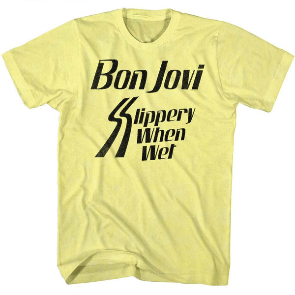 Bon Jovi-Slippery When Wet-Yellow Heather Adult S/S Tshirt