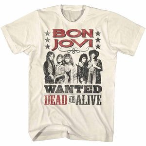 Bon Jovi-Dead Or Alive-Natural Adult S/S Tshirt