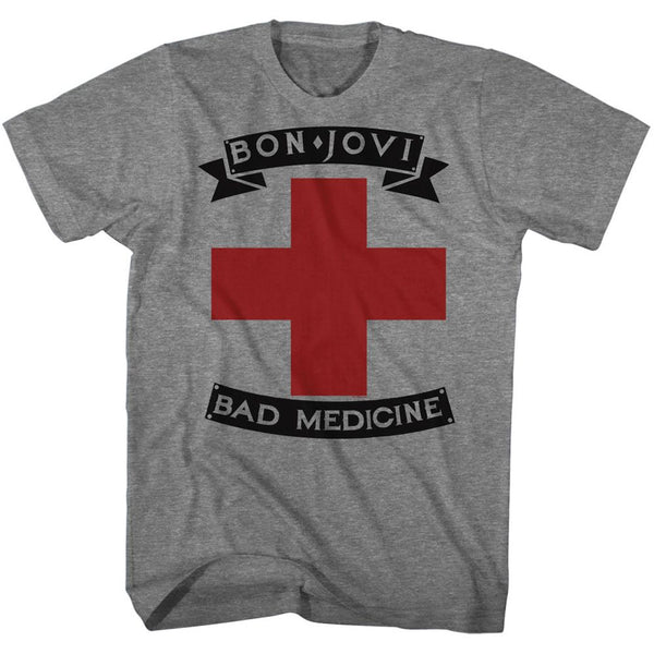 Bon Jovi-Badmed-Graphite Heather Adult S/S Tshirt