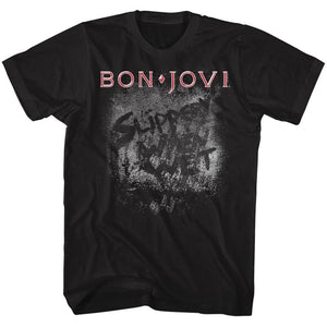 Bon Jovi-More Slippery-Black Adult S/S Tshirt
