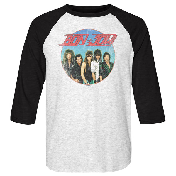 Bon Jovi-Vintage Band Shot-White Heather/Vintage Black Adult 3/4 Sleeve Raglan