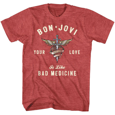 Bon Jovi-Heart And Dagger-Red Heather Adult S/S Tshirt