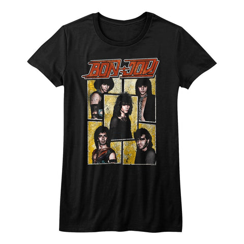 Bon Jovi-Livin' On A Prayer-Black Ladies S/S Tshirt