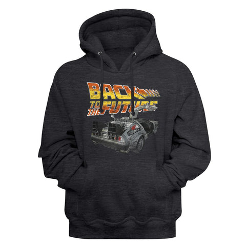 Back To The Future-Btf Car-Black Adult L/S Sweatshirt Pullover Hoodie