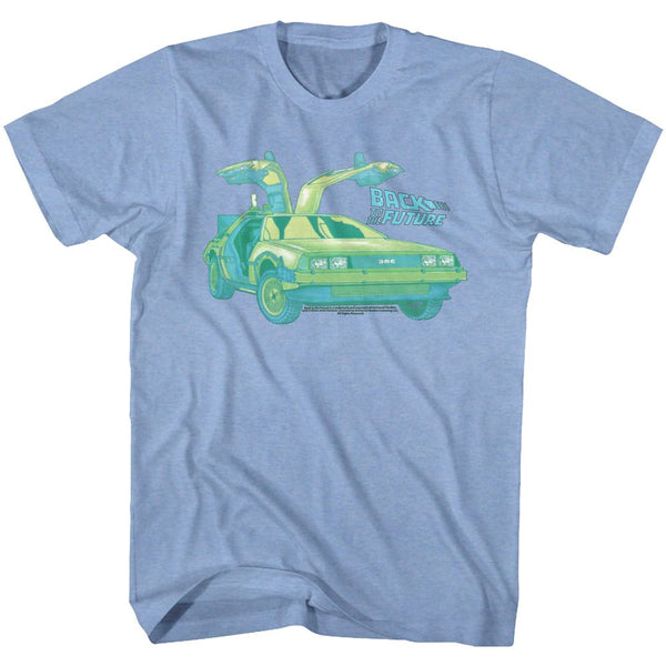 Back To The Future-Delorean Chillin-Light Blue Heather Adult S/S Tshirt