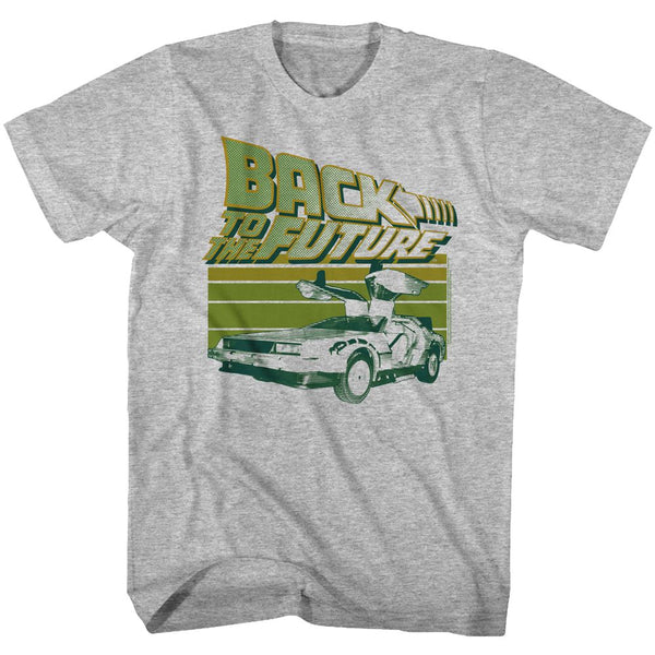 Back To The Future-Green Flight-Gray Heather Adult S/S Tshirt - Coastline Mall