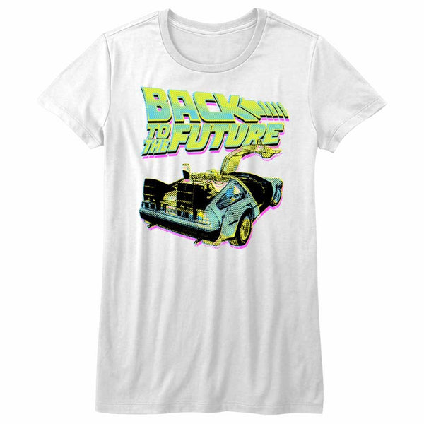 Back To The Future-Btf Neon-White Ladies S/S Tshirt