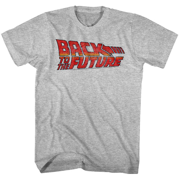 Back To The Future-Logo B2F-Gray Heather Adult S/S Tshirt