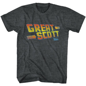 Back To The Future-Great Scott-Black Heather Adult S/S Tshirt