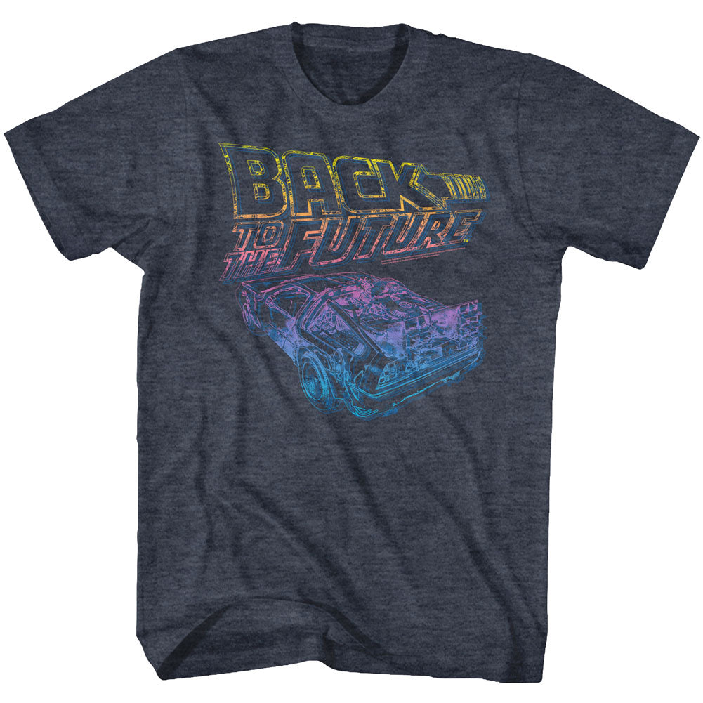 Back To The Future-Now You See It-Navy Heather Adult S/S Tshirt