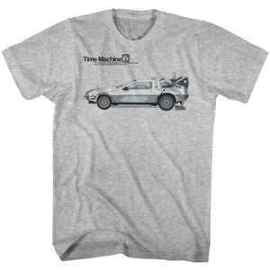 Back To The Future-Delorean-Gray Heather Adult S/S Tshirt