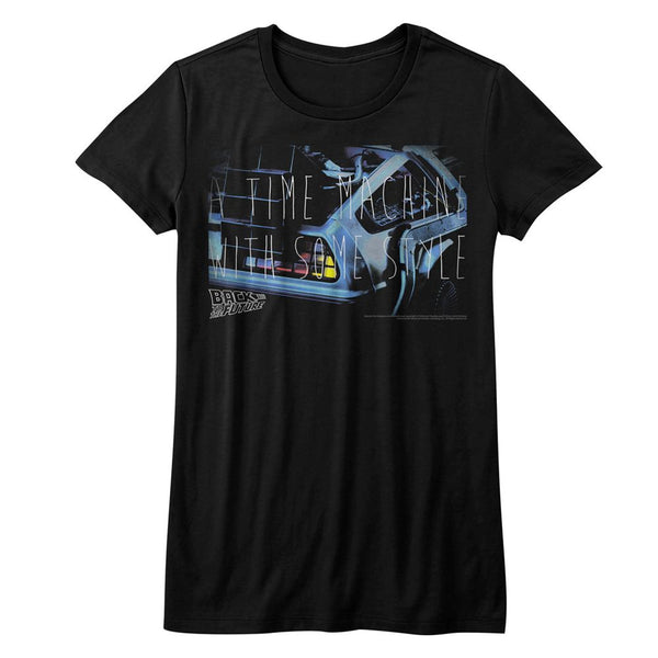 Back To The Future-Some Serious Style-Black Ladies S/S Tshirt - Coastline Mall