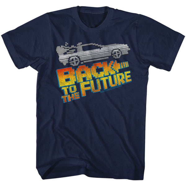 Back To The Future-8Bit To The Future-Navy Adult S/S Tshirt