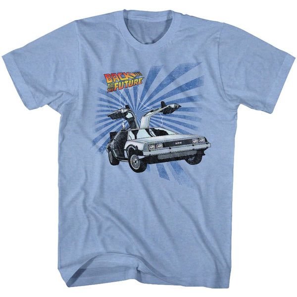 Back To The Future-Comical-Light Blue Heather Adult S/S Tshirt
