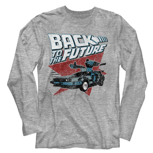 Back To The Future-Logo Traingle Car-Gray Heather Adult L/S Tshirt