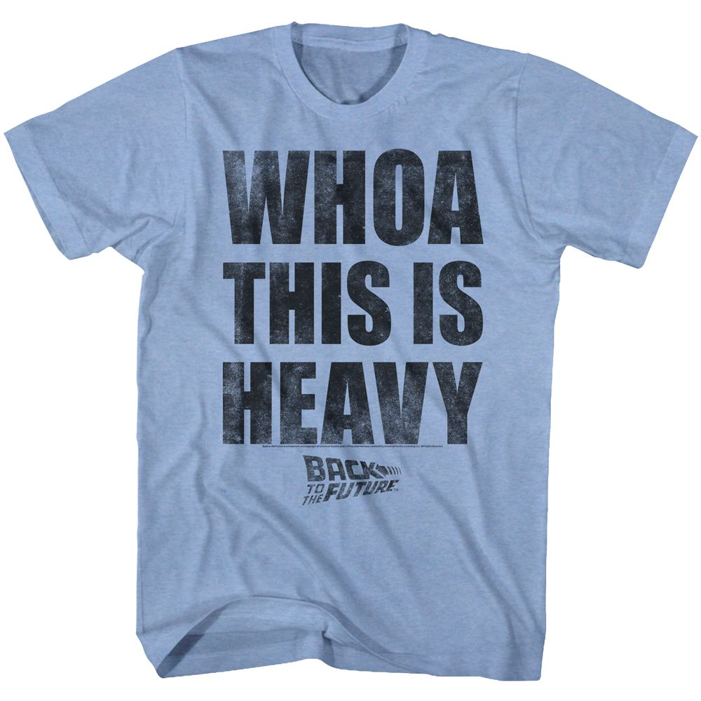 Back To The Future-Heavy-Light Blue Heather Adult S/S Tshirt