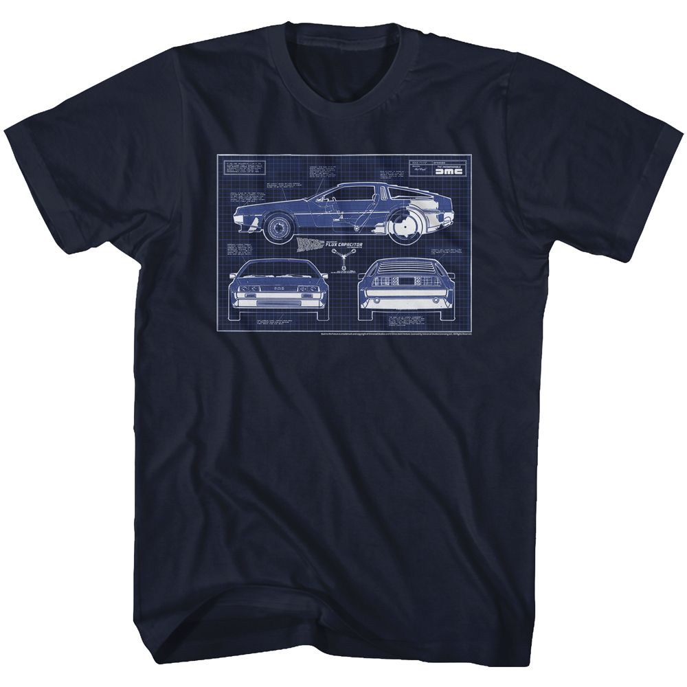 Back To The Future-Blueprints-Navy Adult S/S Tshirt