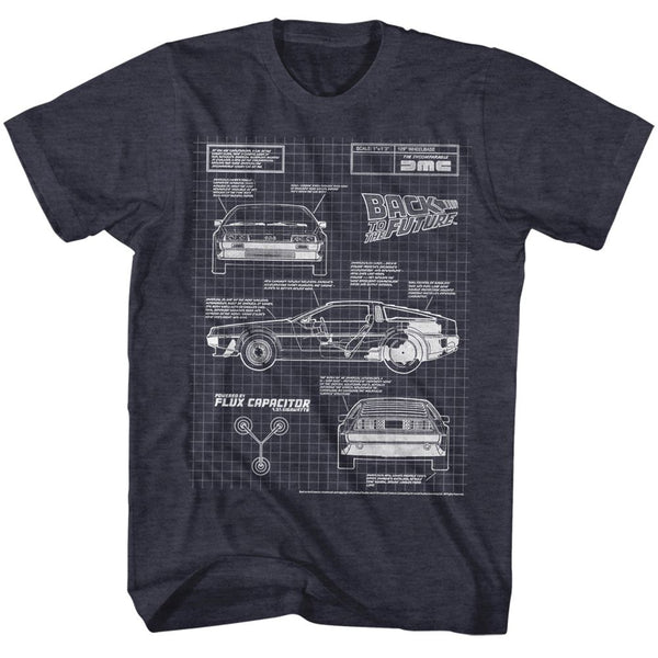 Back To The Future-Blueprint 2-Navy Heather Adult S/S Tshirt - Coastline Mall