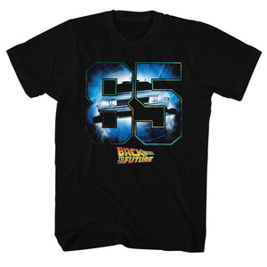 Back To The Future-Eighty Five-Black Adult S/S Tshirt