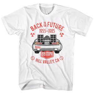 Back To The Future-Vintage Dmc Back-White Adult S/S Tshirt